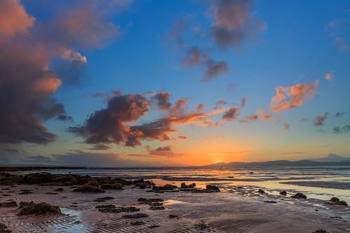 sea sunset mountains clouds foyle lough