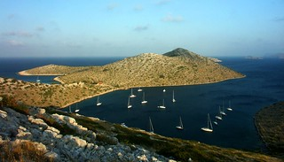 Boats Anchored in a Bay - Croatia. Stock Photo