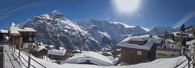 Murren & the Jungfrau Mountain . Izakigur No. 6099 100 101 102 103 Panorama.