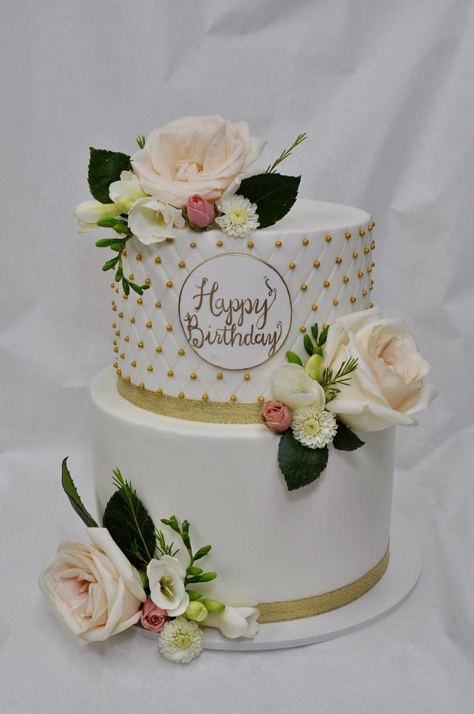 Birthday Cake With Fresh Flower Decoration