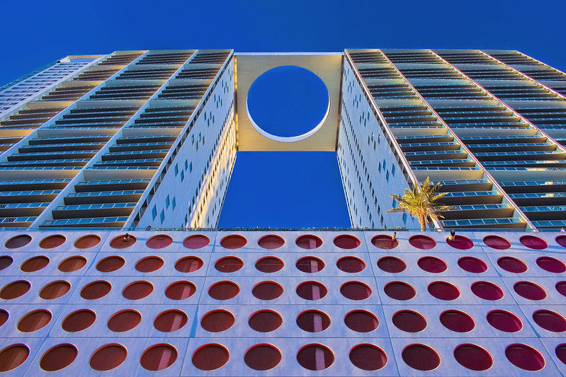 500 Brickell Towers, 500 Brickell Avenue, Miami, Florida, USA / Architect: Arquitectonica / Completed: 2008 / Height: 426 ft (130 m) / Floors: 42 / Architectural Style:  Postmodernism