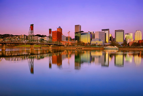 ian sane images sundaysunrise downtown portland oregon sunrise hdr vera katz eastbank esplanade willamette river hawthorne bridge landscape photography reflections canon eos 5ds r camera ef1740mm f4l usm lens