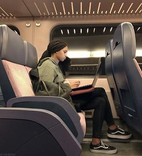 Laptoppen in de trein   by Tim Boric