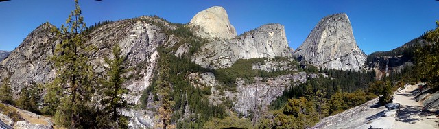 Half Dome, Mount Broderick, and Liberty Cap from the Clark Point Trail by bryandkeith on flickr