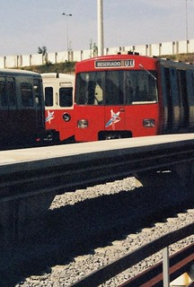 Lisbon Underground first and second generation electric multiple units type ML7 and ML79 at Pontinha depot, Lisbon