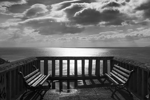 dramatic x100f fujifilm clouds sky benches daylight seascape piraeus greece bw