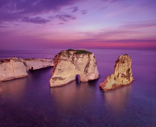 beirut raouché evening sunset glow colors sea leefilters lee longexposure clouds blue
