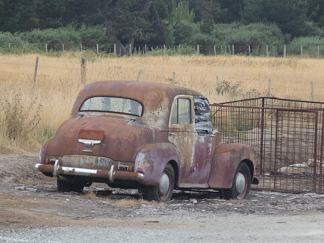 Vauxhall Velox 1949 at Beaconsfield, Tasmania. I think its only superfiscially burnt, so hopefully it will be able to be restored. The tyres are still pumped up.