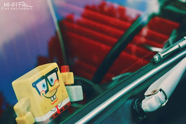 spongebob in the window