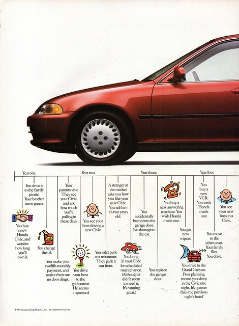 1994 Honda Civic Sedan Page 1 USA Original Magazine Advertisement