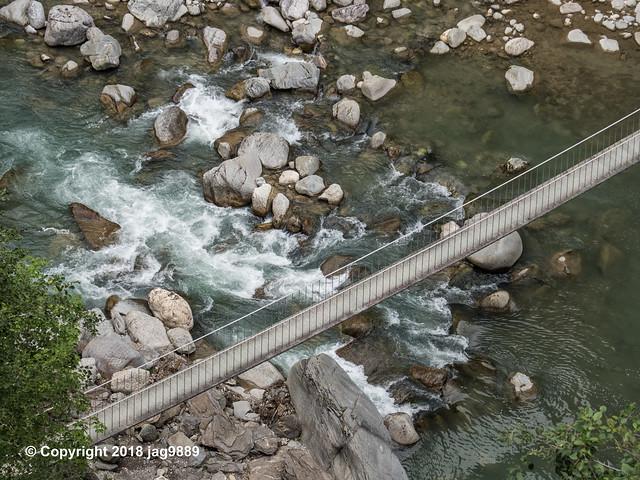 RHE160 Pùnt da Suransuns Suspension Bridge over the Hinterrhein River, Zillis-Reischen, Canton of Graubünden, Switzerland