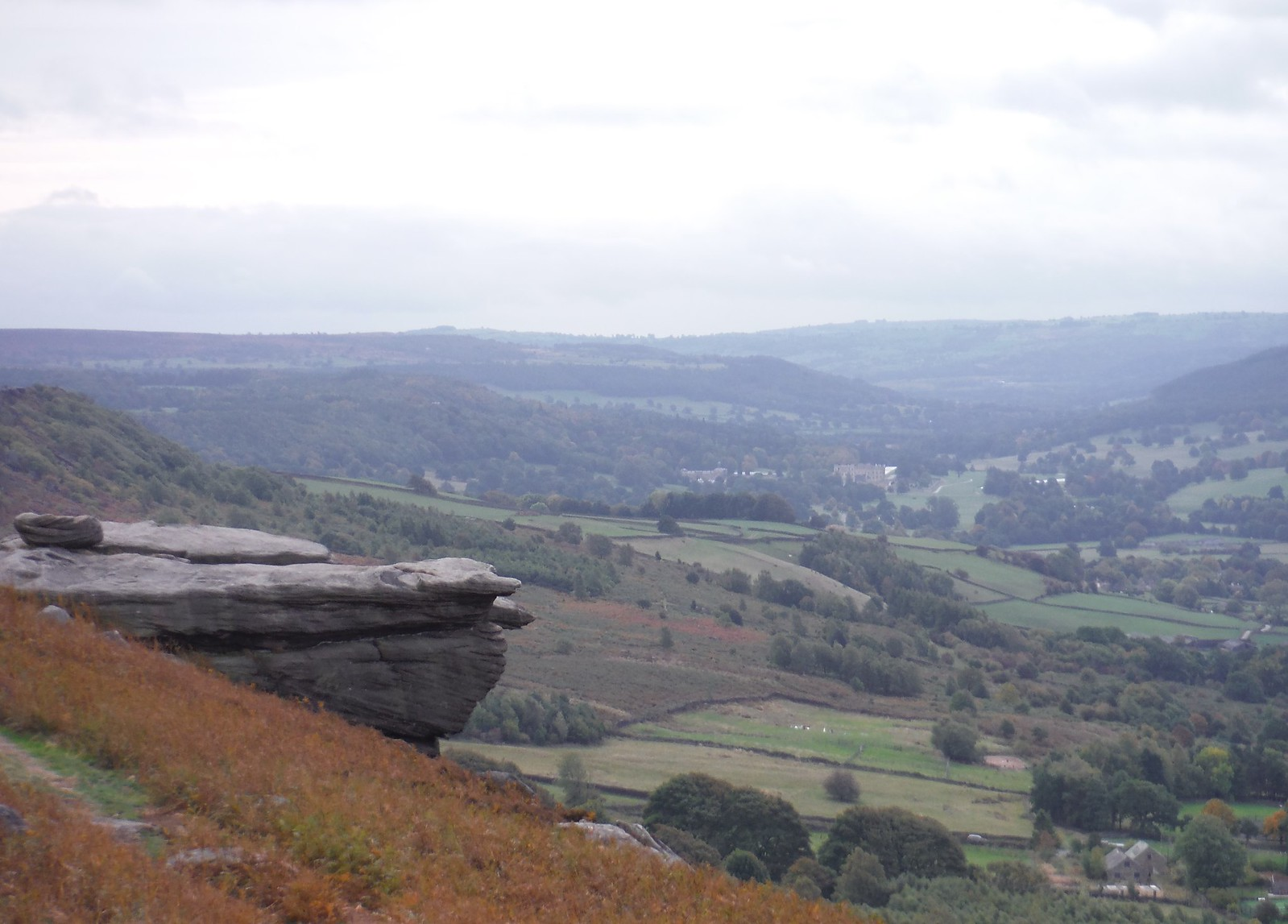 Derwent Valley to the South from Curbar Edge, with Chatsworth House SWC Walk 322 - Grindleford Circular (via Chatsworth House)
