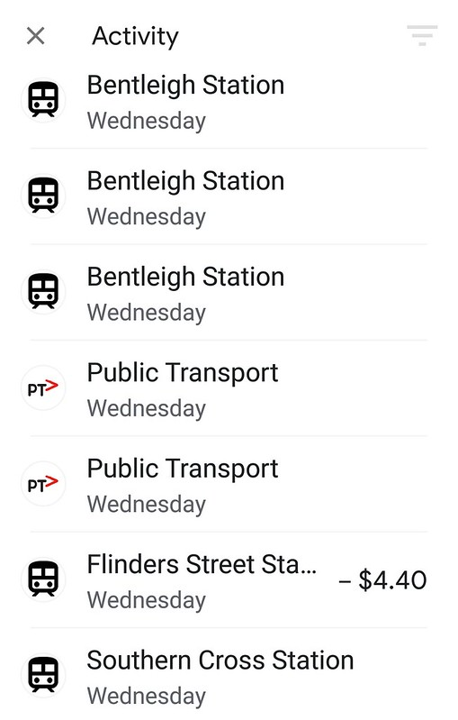 Mobile Myki: transaction history