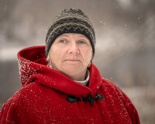 outdoor naturallight snow winter red border canada ontario humanfamily photoproject project napanee park justmet portrait stranger alex
