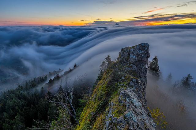 Belchenflue fog wave at dawn