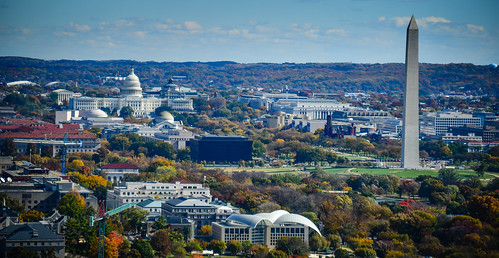 Washington Monument and US Capitol building viewed from Observation Deck at CEB Tower Rosslyn VA | by mbell1975