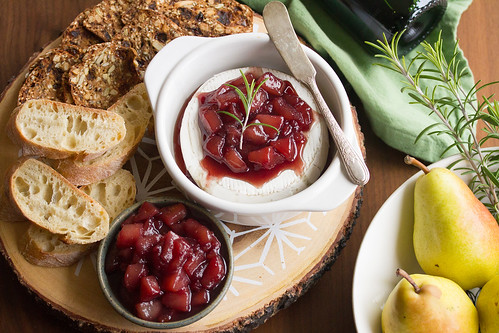 Baked Brie with Wine-Poached Pear Compote | by Isabelle @ Crumb