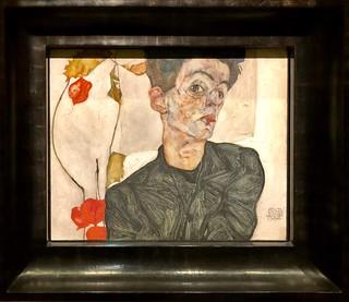 Autoportrait au coqueret, 1912, Egon Schiele