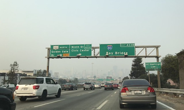 Driving into #DownTownSanFrancisco yesterday,the air quality is bad because of fires in different parts of #california