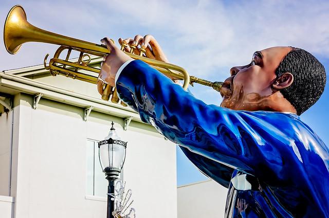 Jazz musician statue at Mardi Gras Park in Mobile Alabama