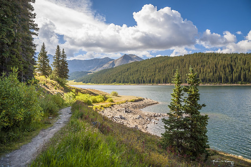 mountain lake water sky clouds blue sun summer tree beautiful mountains trail forest hiking colorado martinwitt anglesedges whiterivernationalforest