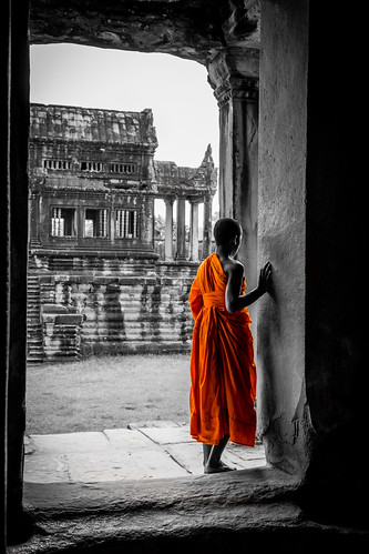 Monk in Angkor Wat, Cambodia (Color Key) | by nadine3112