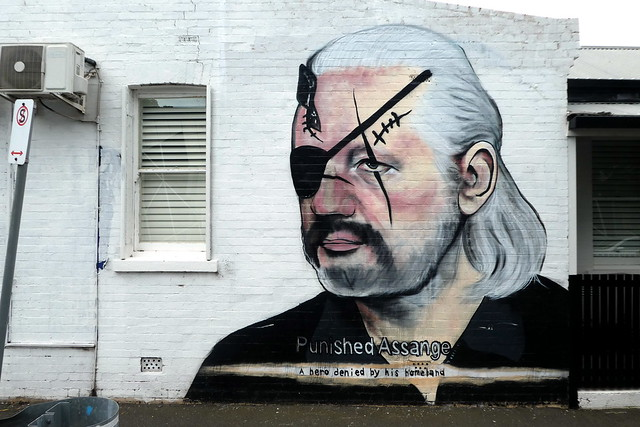 Julian Assange LushSux graffiti, Melbourne