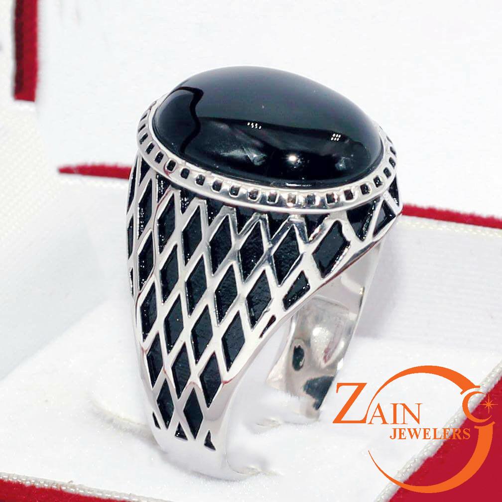 Black Yamni Aqeeq Finger Ring  Latest And Imported Designe