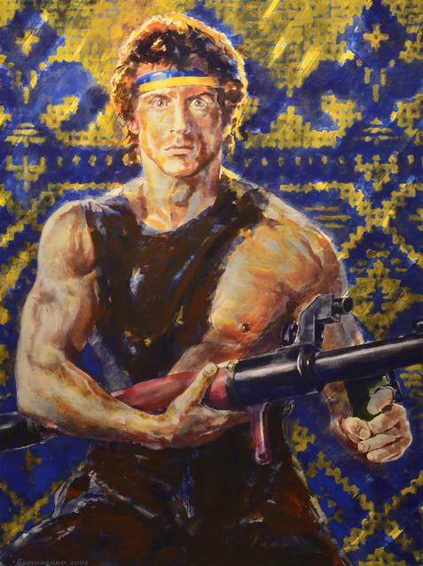 Yury Ermolenko, RAMBO, 2008, acrylic on canvas, 200x150 cm.