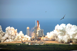 Space shuttle Endeavour lifts off from Launch Pad 39A at NASA's Kennedy Space Center in Florida, 8 Aug. 2007. Original from NASA . Digitally enhanced by rawpixel.