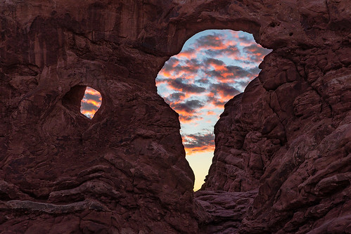 utah archesnationalpark arches nationalpark thewindows turretarch moabutah sunset sunsetcolor winter lasalmountains fierysunset landscapephotography jamesmarvinphelps jamesmarvinphelpsphotography