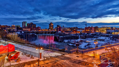high falls rochester new york ny roc city waterfall genesee river gorge outdoors winter sunset snow canon rebel t7i