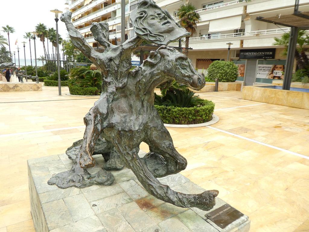 Spain - Marbella - Dali brass sculpture