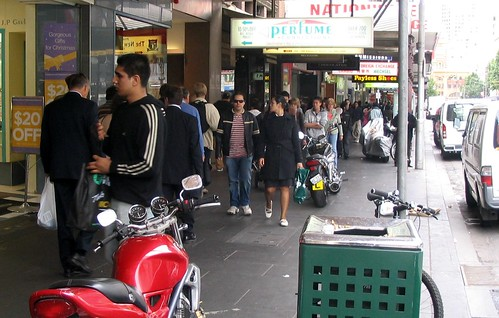 Motorcycles on the footpath, November 2008 | by Daniel Bowen