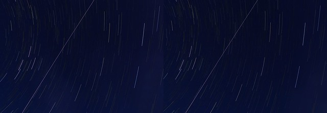 Trail of  International Space Station, stereo cross view