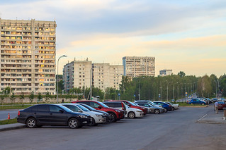 Parking in residental area of Kemerovo city