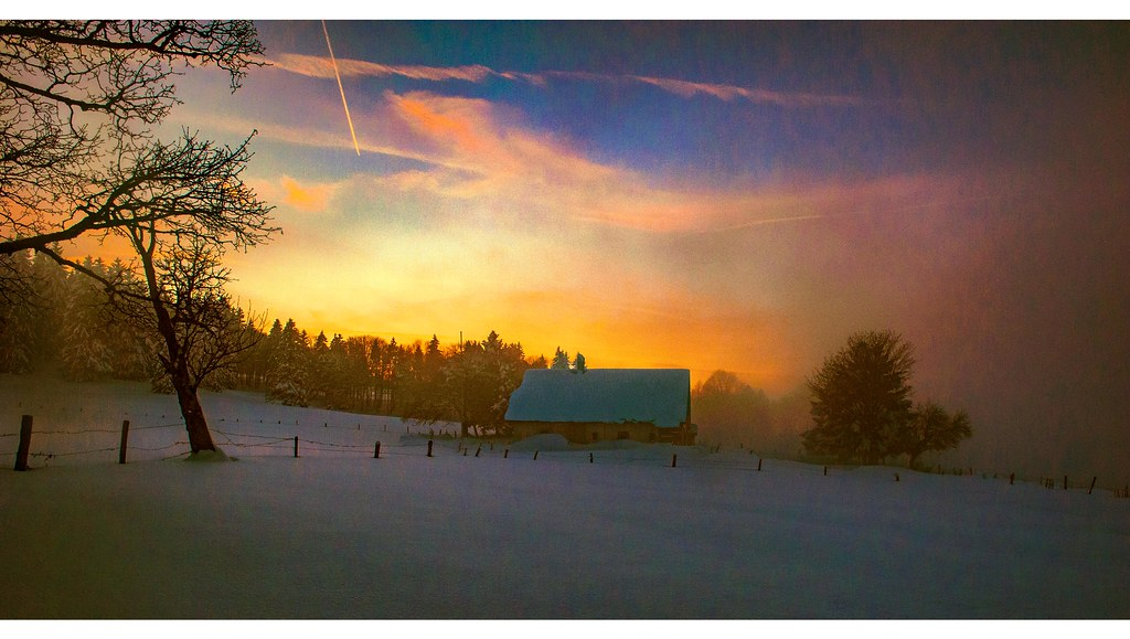 Joyeux Noel Twilight.Winter Twilight Time In La Tourne Canton Of Neuchatel Sw