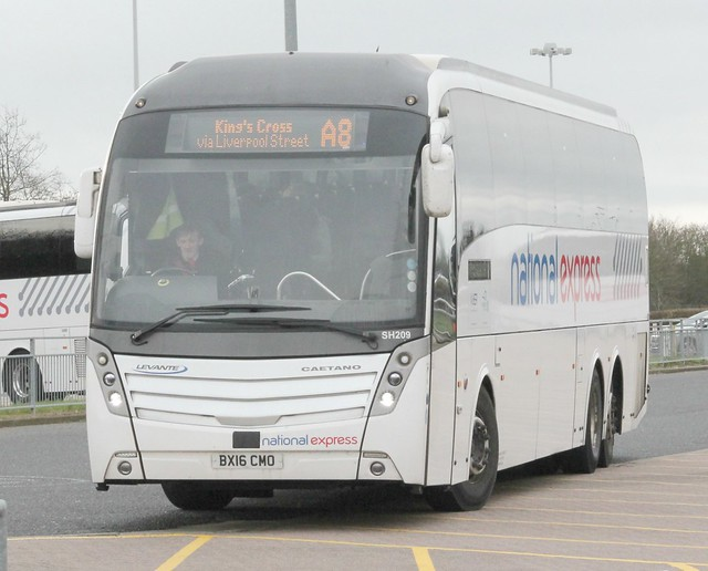 West Midlands Travel / National Express . SH209 BX16CMO . Stansted Airport Coach Station , Essex . Saturday 29th-December-2018 .