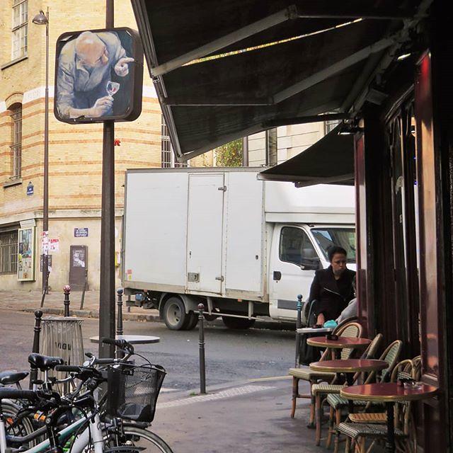 Never to early for some #aperotime / #streetart by #PhilippeHerard (do you see it?) . #paris #streetartparis #parisstreetart #graffiti #urbanart #graffitiart #streetartfrance #msaparis #theparisguru #urbanart_daily #graffitiart_daily #streetarteverywhere