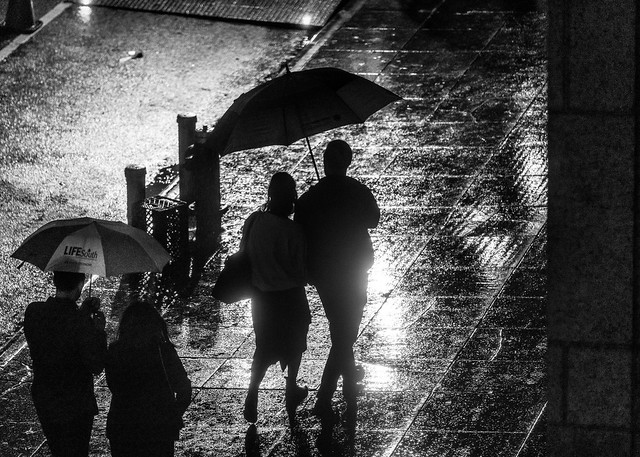 New York Street Scenes - Rainy Night in the Financial District
