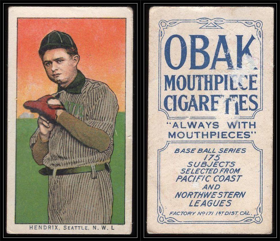1910 T212 2 Obak Cigarettes Baseball Card 175 Subjects