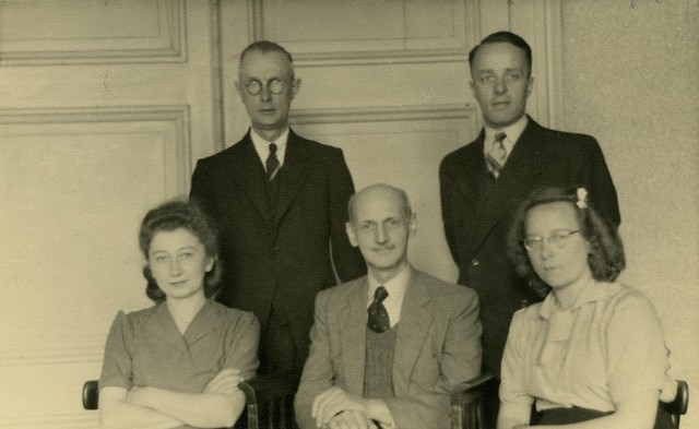Otto Frank with Helpers, 1945