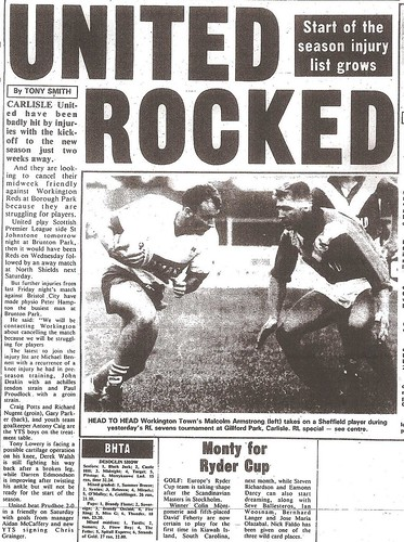 Prudhoe v Carlisle United 3-8-1991 Match Report | by cumbriangroundhopper