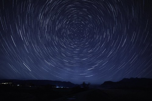 startrails foggy eerie longexposure sky light mountains silouette northstar path road dyke mapleridge lowermainland britishcolumbia sonya73 rokinon outdoors evening abstract circular landscape nature art motion movement rotation starry night lighttrails polaris arcs
