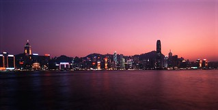 Panoramic View of Hong Kong at Sunset
