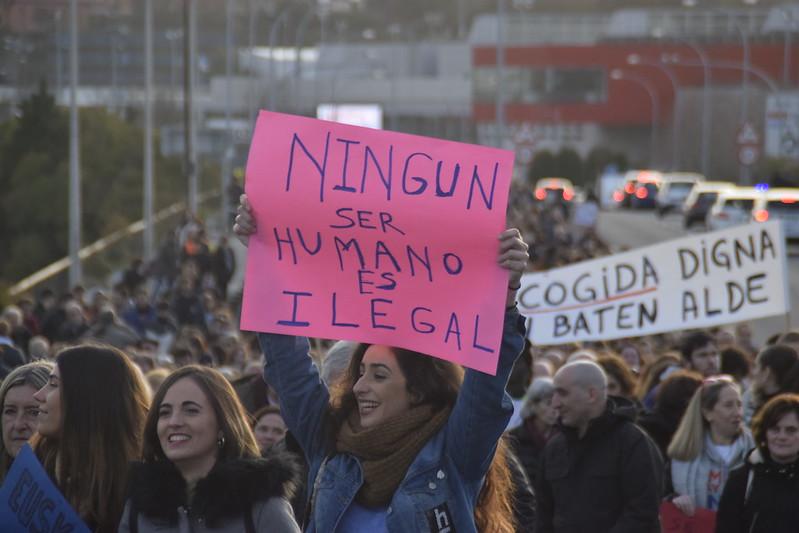 Foto archivo: Momento de la pasada manifestación del 22 de enero. (Foto: bidasoa.hitza.eus)