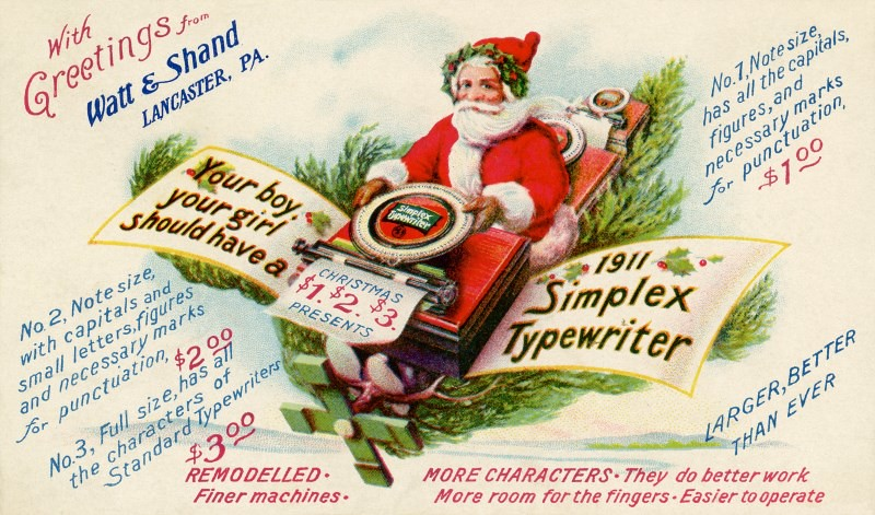 Santa Claus Delivering Simplex Typewriters, 1911 | To delive