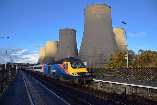 Former Grand Central HST Stock, 43484 top n tail with 43467 pauses at East Midlands Parkway, with the 15.45 Nottingham to London St Pancras service. 07 11 2018