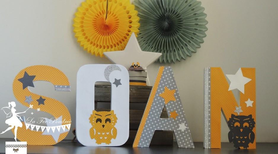 lettre prénom décorée deco chambre enfant baptême thème hi ...