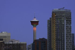 Calgary Tower bathed in the blue hour
